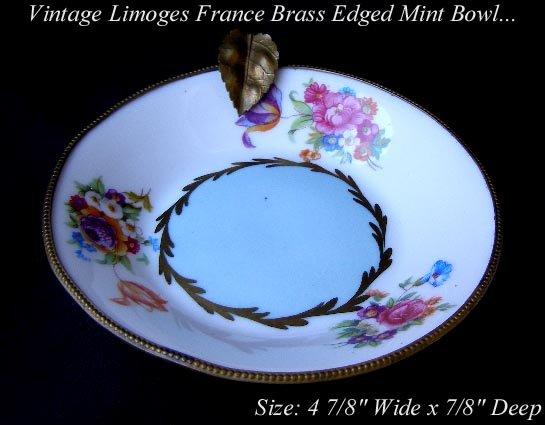VINTAGE LIMOGES FLOWER BRASS TRIM MINT BOWL BLUE GOLD