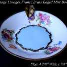 VINTAGE LIMOGES FLOWER BRASS TRIM MINT BOWL BLUE GOLD