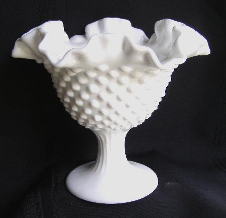 "Old Fenton Milk Glass Hobnail Compote Comport 6"""