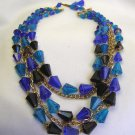Vintage Germany 5 Row Black Blue Beaded Necklace Wowza!