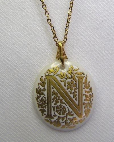 Avon Enameled Letter N Porcelain Pendant & Necklace