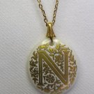 Avon Enameled Letter N Porcelain Pendant & Necklace