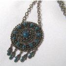 Vintage Large Baroque Faux Turquoise Pendant Necklace