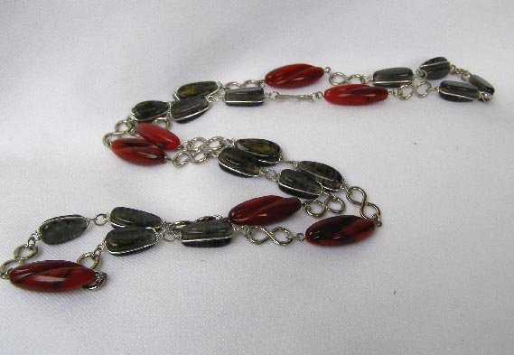 Vintage Faux Agate Red Scarlet & Gray 24 Inch Necklace
