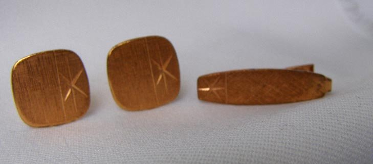 Circa 1960 Modernist Copper Cufflinks & Tie Clasp Set