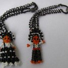 2 Vintage Mexican Boy & Girl Beaded Figurine Bracelets