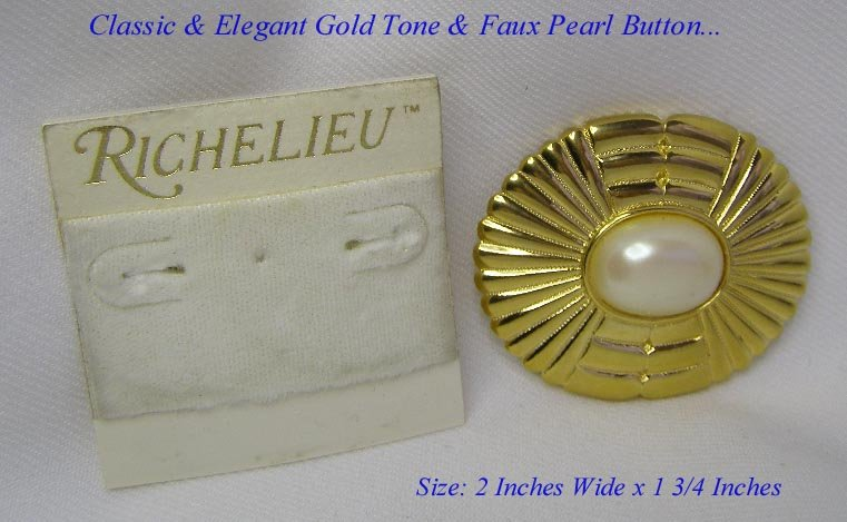 CLASSIC RICHELIEU GOLD & LARGE FAUX PEARL PIN BROOCH