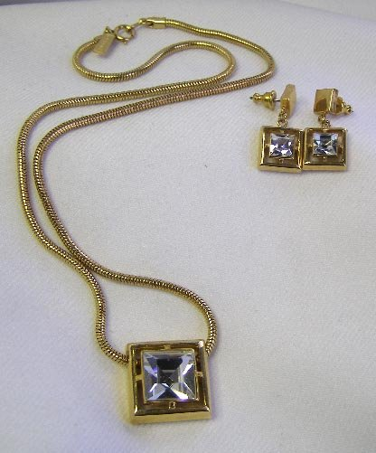 Classic 1980s Avon Square Crystal Necklace & Earrings