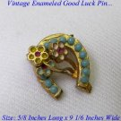 DARLING LATE VICTORIAN ENAMELED GOOD LUCK HORSESHOE PIN