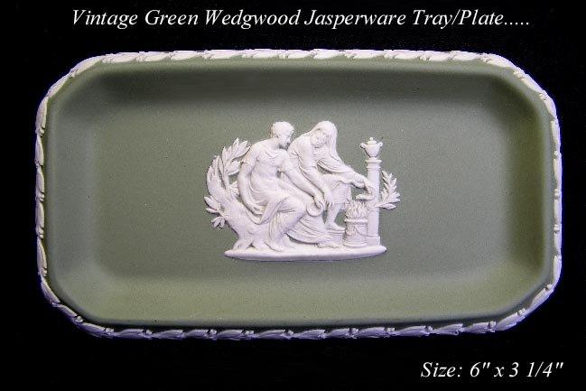 VINTAGE SOFT GREEN JASPERWARE WEDGWOOD CAMEO PLATE