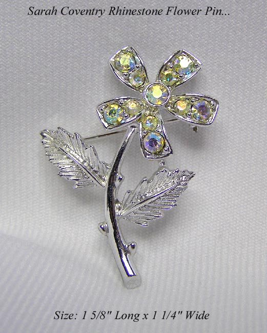 ELEGANT SARAH COVENTRY FLOWER PIN AB RHINESTONES BROOCH