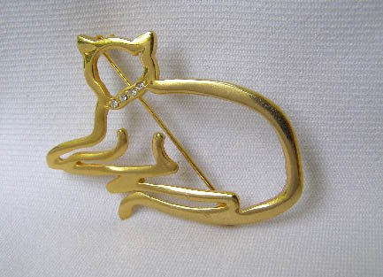 Cat Silouette Brooch with Crystal Rhinestone Collar
