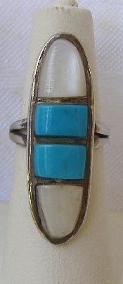 Navajo Sterling Silver Turquoise &  MOP Ring Sz 5 1/2