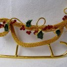 Vintage Christmas Sleigh Sled Brooch