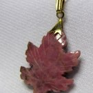 Vintage Red Agate Carved Stone Maple leaf Pendant