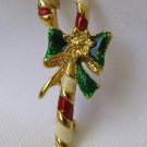 Vintage Christmas Enameled Candy Cane Brooch