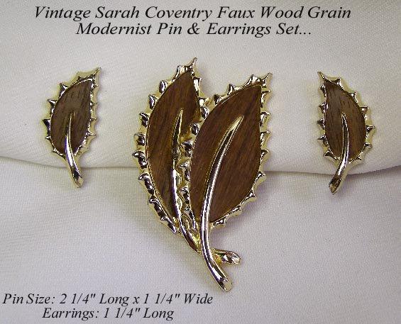 SARAH COVENTRY WOOD GRAIN MODERNIST LEAF PIN & EARRINGS
