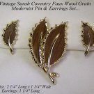SARAH COVENTRY WOOD GRAIN MODERNIST LEAF PIN & EARRINGS