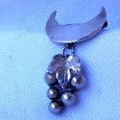 Vintage Sterling Silver Dangling Bunch of Grapes Brooch