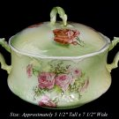 LATE VICTORIAN SEVRES ROSE COVERED BOWL BISCUIT JAR