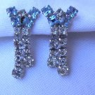 Vintage Pale Blue & Crystal Rhinestone Earrings