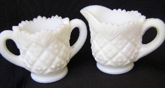 Vintage Westmoreland Milk Glass  Cream & Sugar EAPG