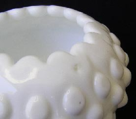 Vintage Fenton Milk Glass Hobnail Ivy Ball Vase 3726