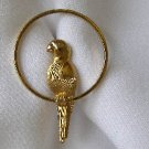 Vintage Avob Goldtone Parrot Bird Brooch Pin