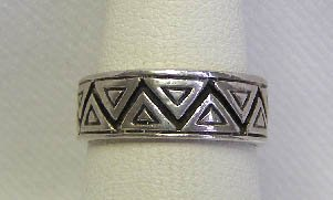 Vintage Sterling Silver Aztec Motif Band Ring Sz 6 3/4