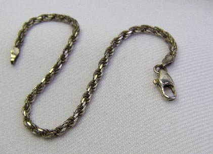 Vintage Italy Sterling Silver Rope Style Bracelet 5 Gm