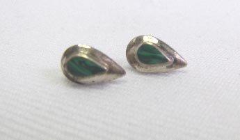 Vintage Sterling Silver Malachite Pierced Earrings