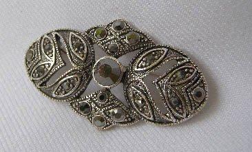 Marcasite Like Rhinestone Victorian Style Brooch
