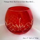 VINTAGE BOHEMIAN RUBY RED CUT TO CLEAR ROSE BOWL