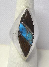 Sterling Silver Southwestern Turquoise & Wood Ring Sz 6