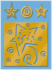 American Traditional Brass Stencil With Charms SHOOTING STAR