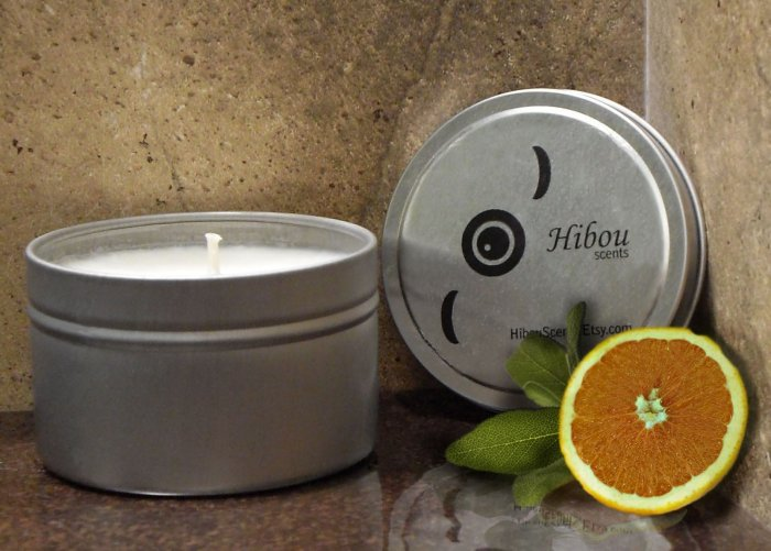 Three Citrus & Sage Hibou Candles