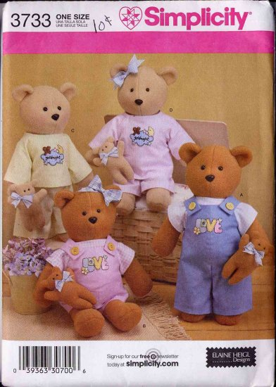 "Simplicity 17"" Bear and 5"" Toy Bear Sewing Pattern UNCUT 3733"