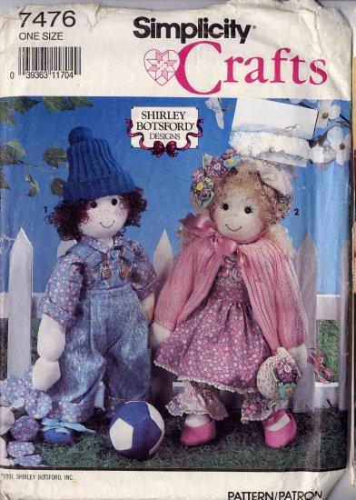 """Simplicity 18"""" Cloth Dolls, Clothes and Yo-Yo Quilt UNCUT 7476"""