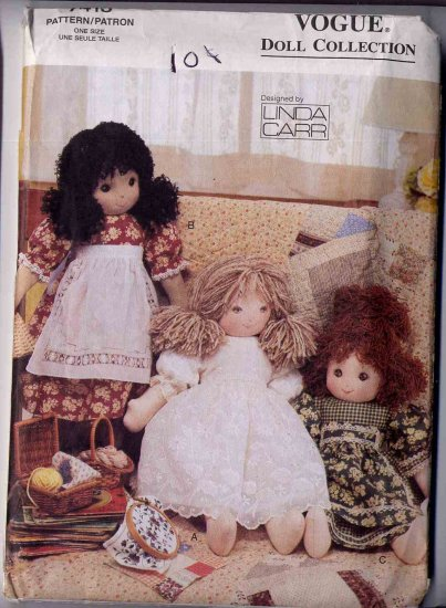 """Vogue Linda Carr 18"""" Doll and Clothes Pattern Complete 7418"""