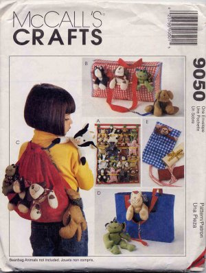 McCall's Beanie Baby Animals Accessories Pattern, Backpack, Totes, Wall Organizer UNCUT 9050