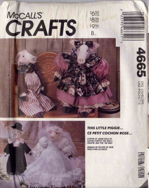 Simplicity 18� Prim Cloth Pig Dolls with Courting and Wedding Clothes UNCUT 4665