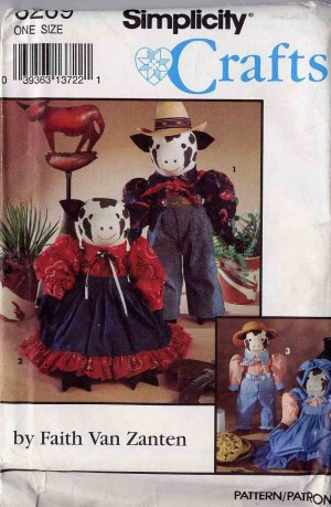 Country Cows in Their Sunday Best Simplicity Prim Dolls Pattern UNCUT 8269 Faith Van Zanten