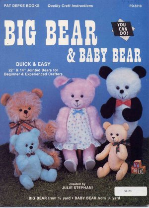 49 Cent SALE! Big Bear and Baby Bear Jointed Dolls Full Size Patterns Booklet