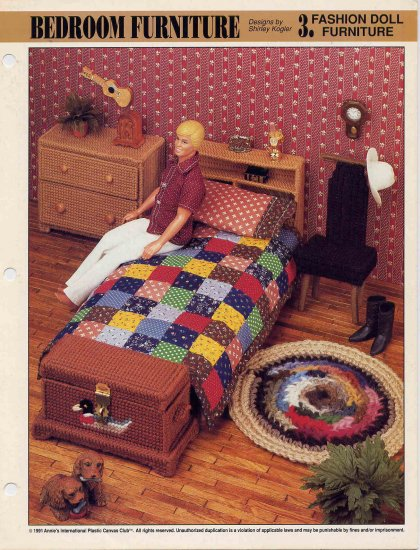 Barbie Or Ken Plastic Canvas Bedroom Furniture Pattern Annie S Club Bed Chest Dresser Chair