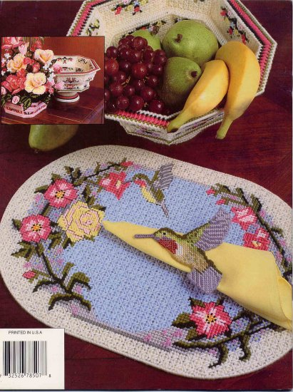Hummingbird Table Decor in Plastic Canvas Pattern Annie's Attic Placemats, Roses in Bowl