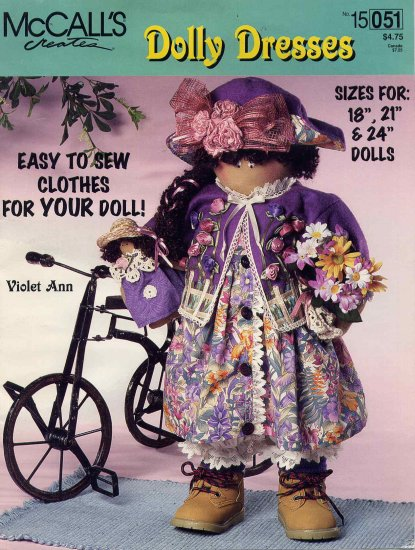 """McCall's Dolly Dresses for 18"""" American Girl Dolls Easy To Sew Patterns"""