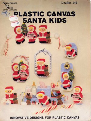 Plastic Canvas Santa Kids Super Cute Christmas Holiday Decor Patterns