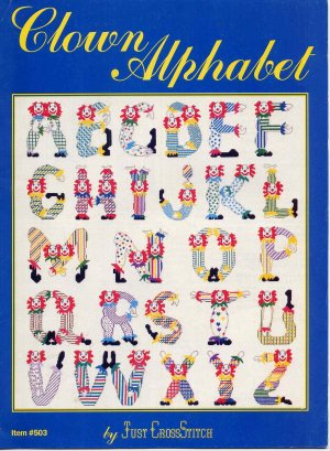 Vintage Clown Alphabet Cross Stitch Pattern Booklet