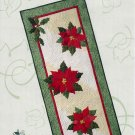 Poinsettia and Holly Quilted Table Runner or Banner Garden Trellis Designs Quilting