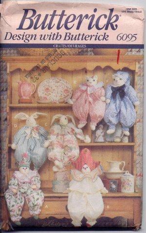Sweet Clown, Bunny and Cat Block Dolls UNCUT Crafts Pattern Butterick 6095